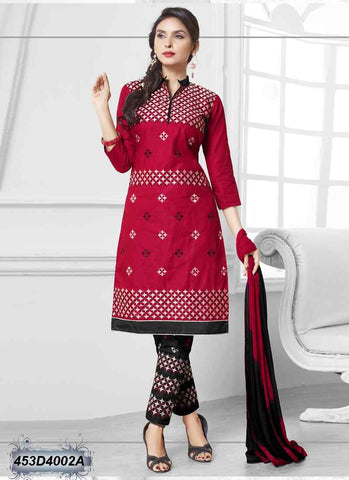 Red Semi-Stitched Combric Cotton Salwar