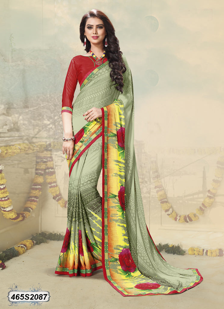 Green Red Crepe Sarees