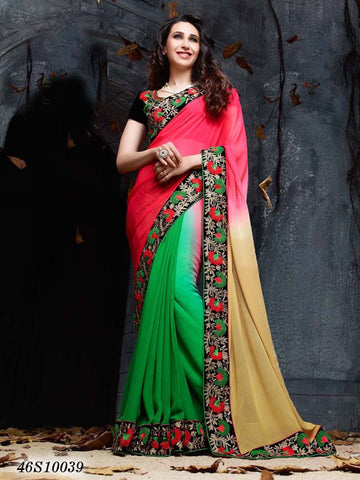 Beige & Pink Green Georgette Party Wear Sarees