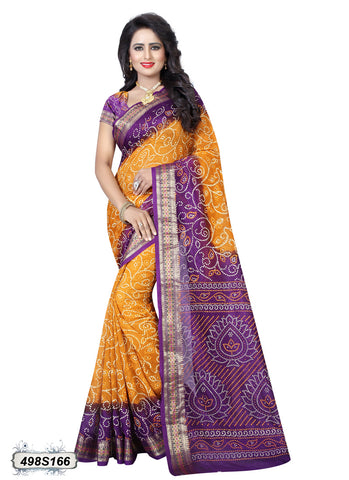 Yellow,Purple Art Silk Sarees