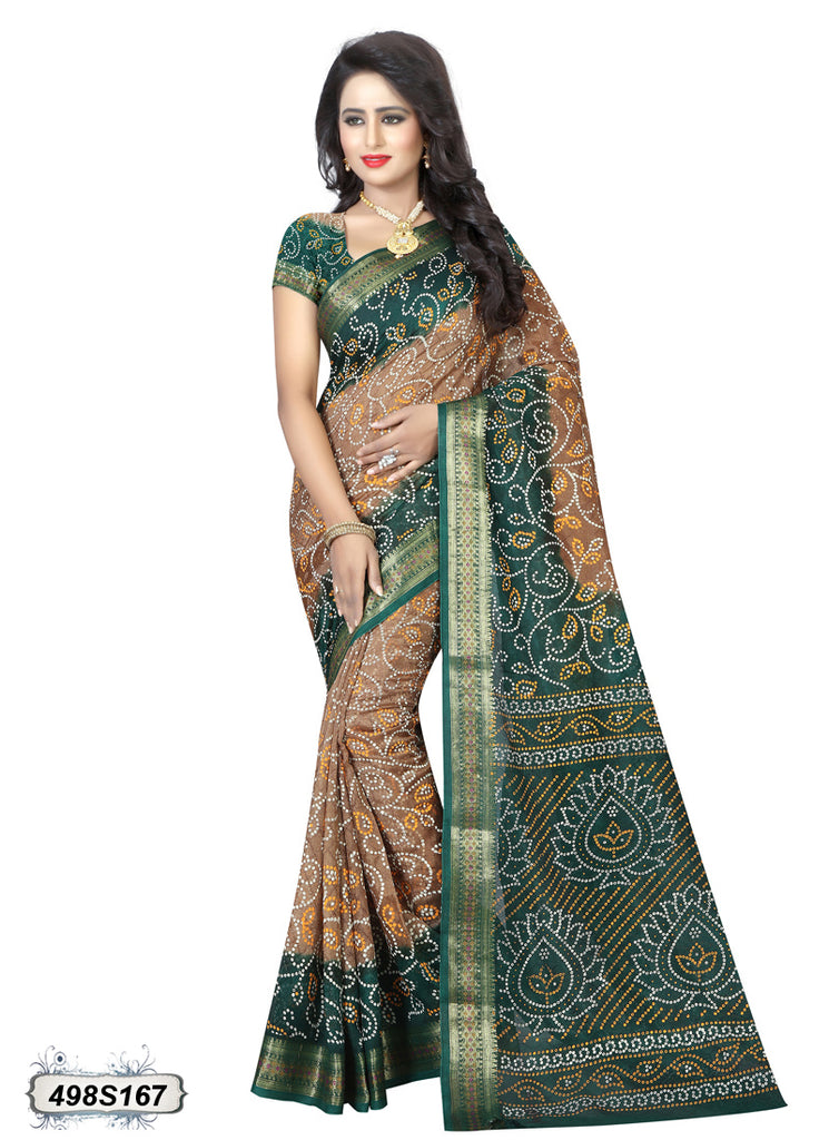 Beige,Green Art Silk Sarees