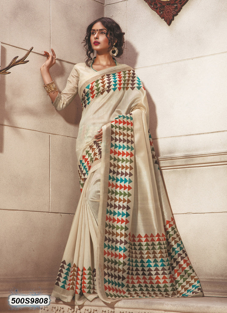 Beige Art Silk Sarees (Add to Cart Get 15% Extra Discount)