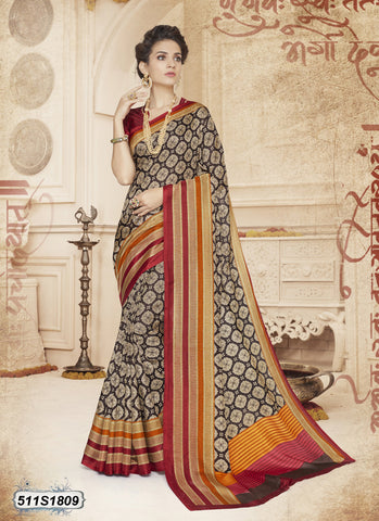 Red Bahubali Poly Cotton Sarees