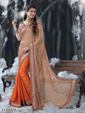 Beige & Orange Crepe Sarees