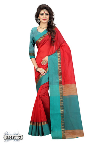 Green Red Bhagalpuri Silk Sarees
