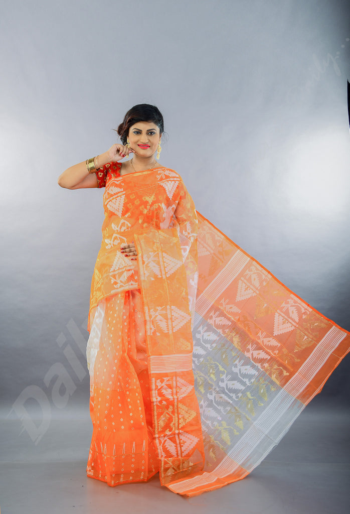 Orange White Dhakai Jamdani Sarees