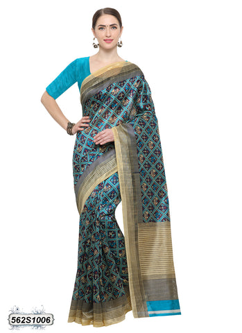 Beige Blue Art Silk Sarees