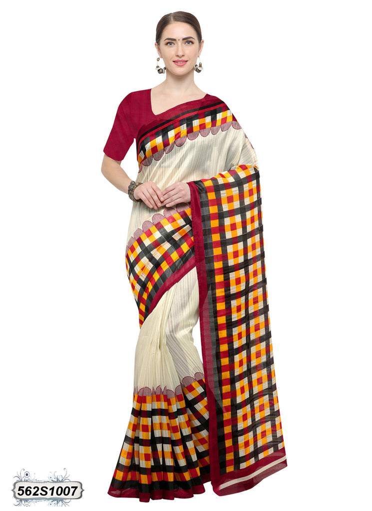 Beige Red Art Silk Sarees