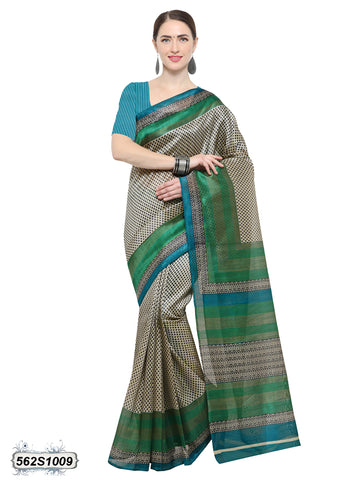 Green White Purple Printed Art Silk Sarees (Add to Cart Get 15% Extra Discount)