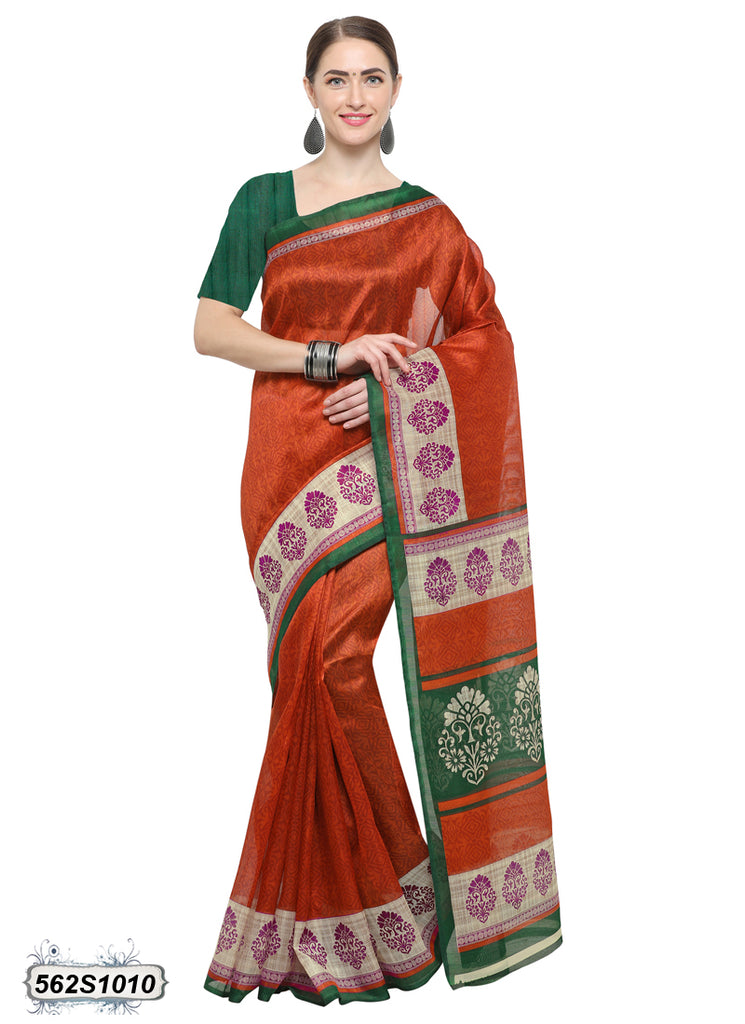 Orange Art Silk Sarees