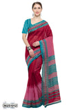 Red, Peach Art Silk Sarees