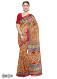 Red, Yellow Art Silk Sarees