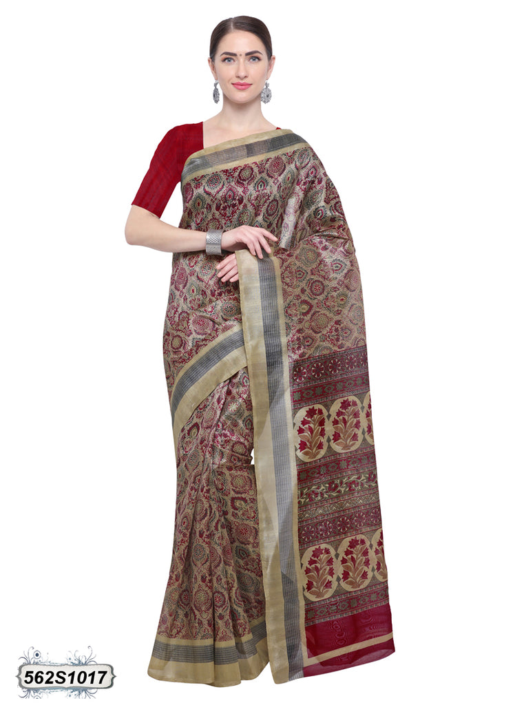 Red, Beige Art Silk Sarees