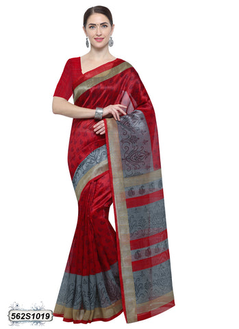 Red, Gray Art Silk Sarees