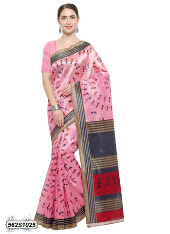 Pink, Blue Art Silk Sarees