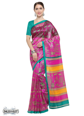 Pink, Yellow Art Silk Sarees