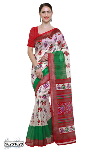 Beige, Red Art Silk Sarees