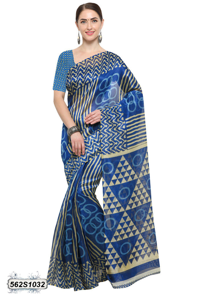 Blue, Beige Art Silk Sarees