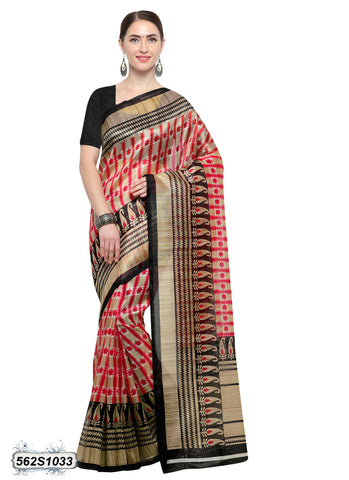 Black, Pink Art Silk Sarees
