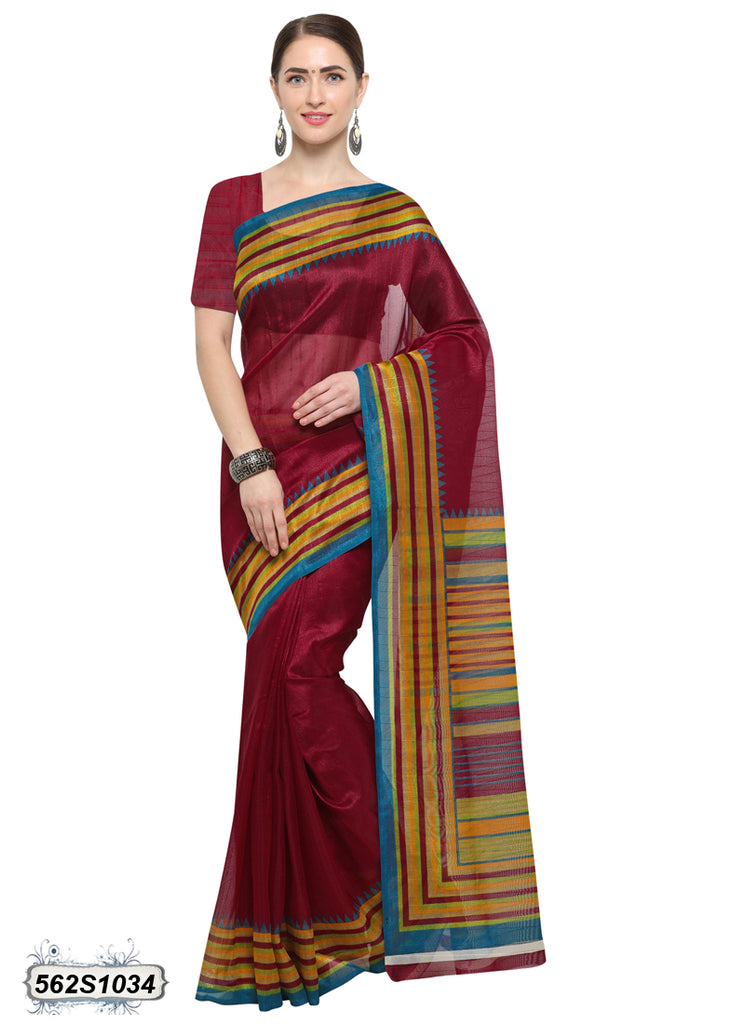 Maroon, Yellow Art Silk Sarees