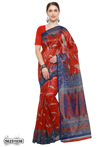 Red, Blue Art Silk Sarees