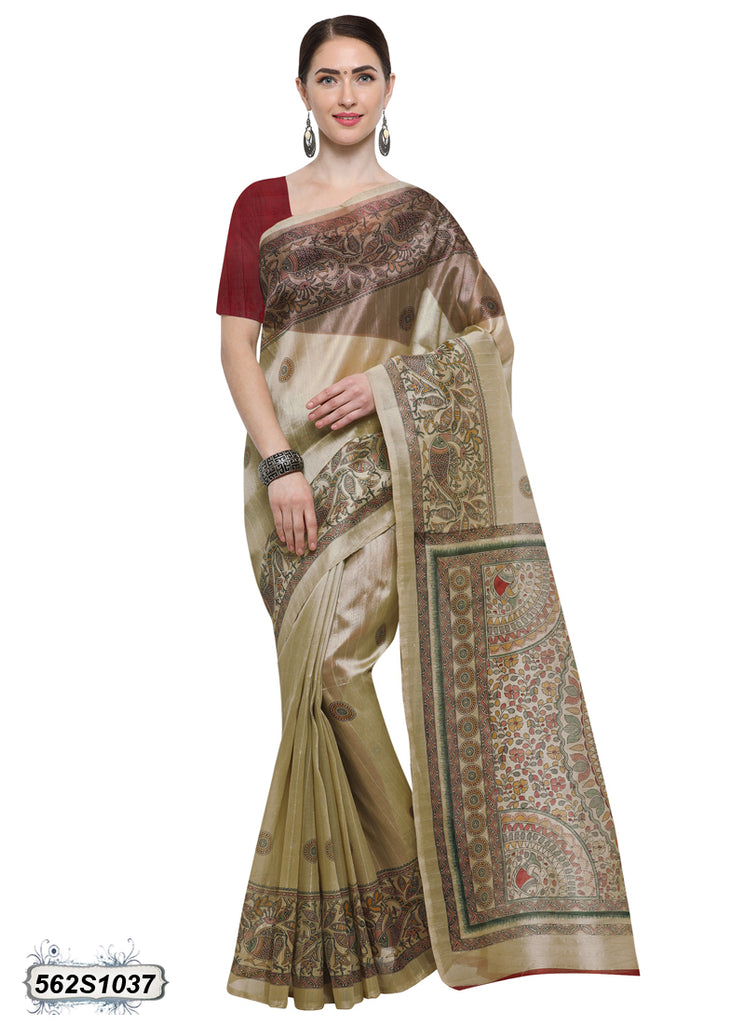 Beige, Black Art Silk Sarees