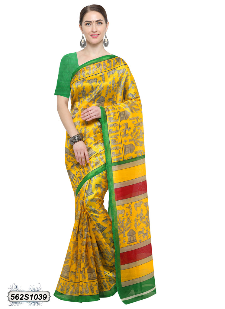 Yellow, Green Art Silk Sarees