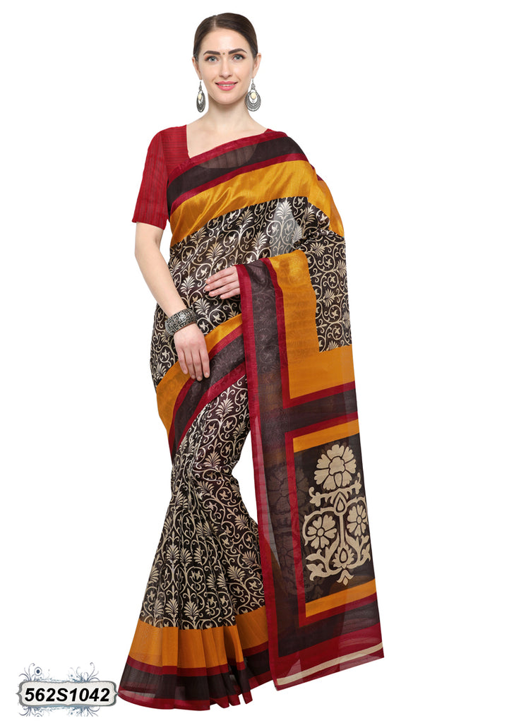 Beige,Yellow Art Silk Sarees