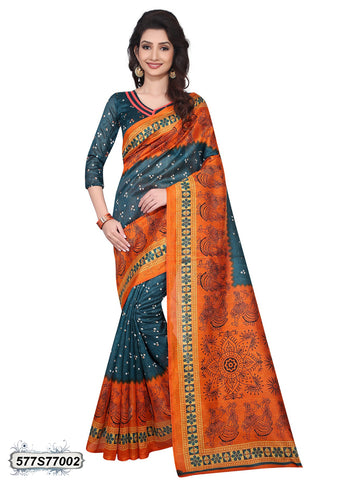 Green,Orange Art Silk Sarees