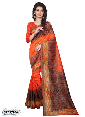 Orange,Brown Art Silk Sarees