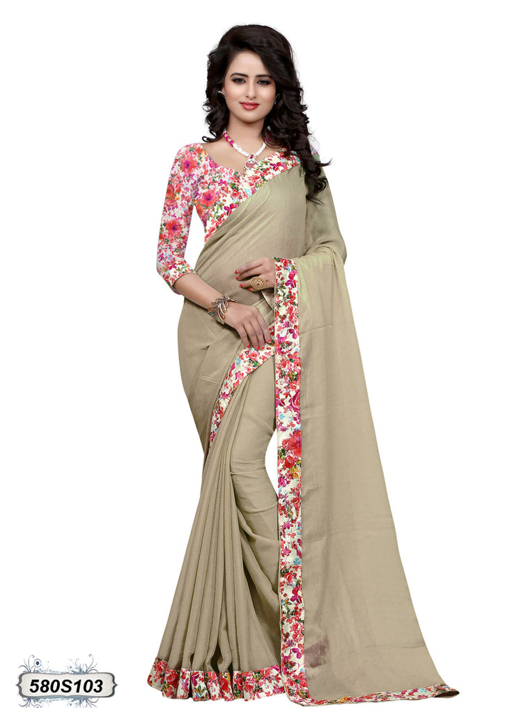 Beige Chiffon Sarees (Add to Cart Get 20% Extra Discount)