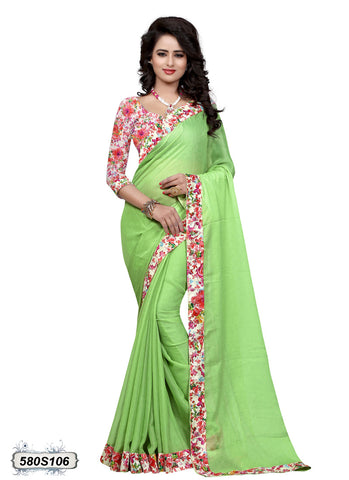 Traditional Green Blue Bandhani Printed Chiffon Sarees