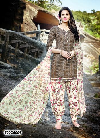 Beige & Orange Chanderi Cotton Salwar