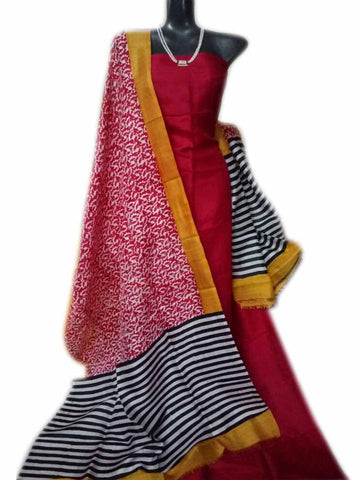 Handpicked Red Murshidabad Silk Top & Dupatta