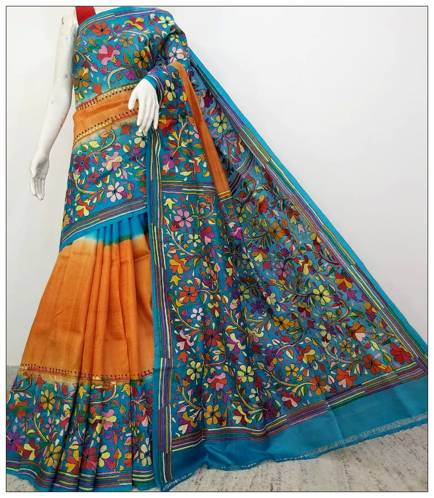 Blue Yellow Kantha Sarees (Add to Cart Get 20% Extra Discount)