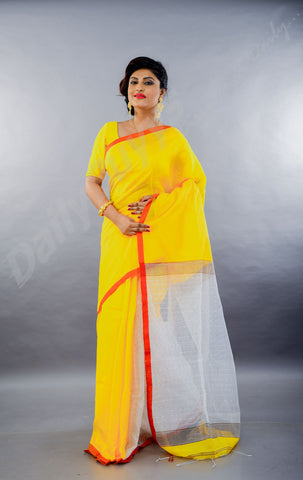 Yellow Red Dhakai Jamdani Sarees