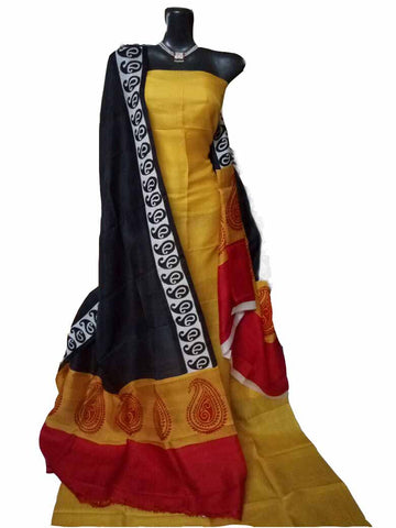 Handpicked Yellow & Black Murshidabad Silk Top & Dupatta