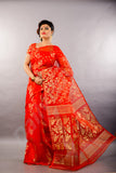 Red Golden Dhakai Jamdani Sarees