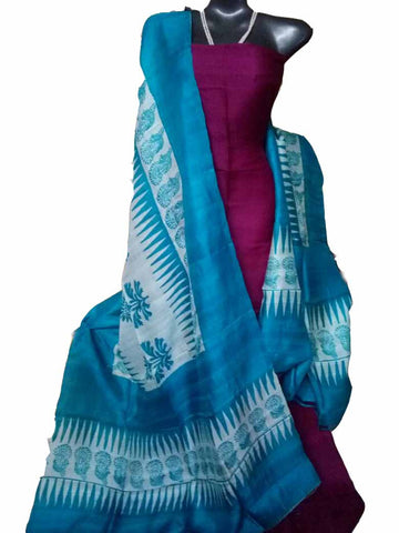 Handpicked Rani & Aqua Blue Murshidabad Silk Top & Dupatta