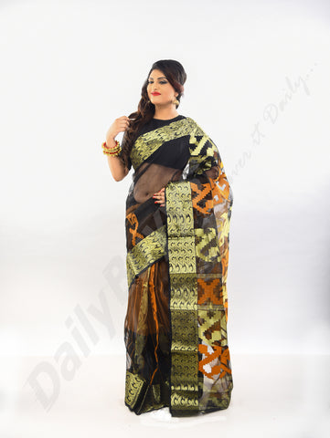 Brown Black Golden Dhakai Jamdani Sarees