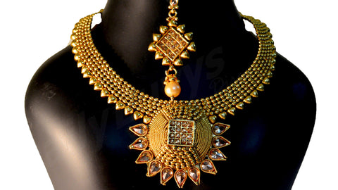 Gold finish necklace 3 Jewellery Sets