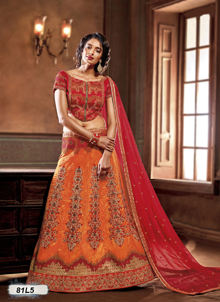 Orange Red Designer Lehenga Choli