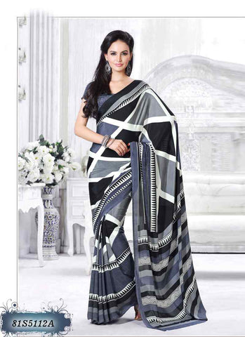 White Red & Black 1 Italian Crepe Sarees