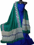 Handpicked Blue & Sea Green Murshidabad Silk Top & Dupatta