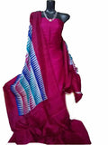 Handpicked Rani Coloured Murshidabad Silk Top & Dupatta