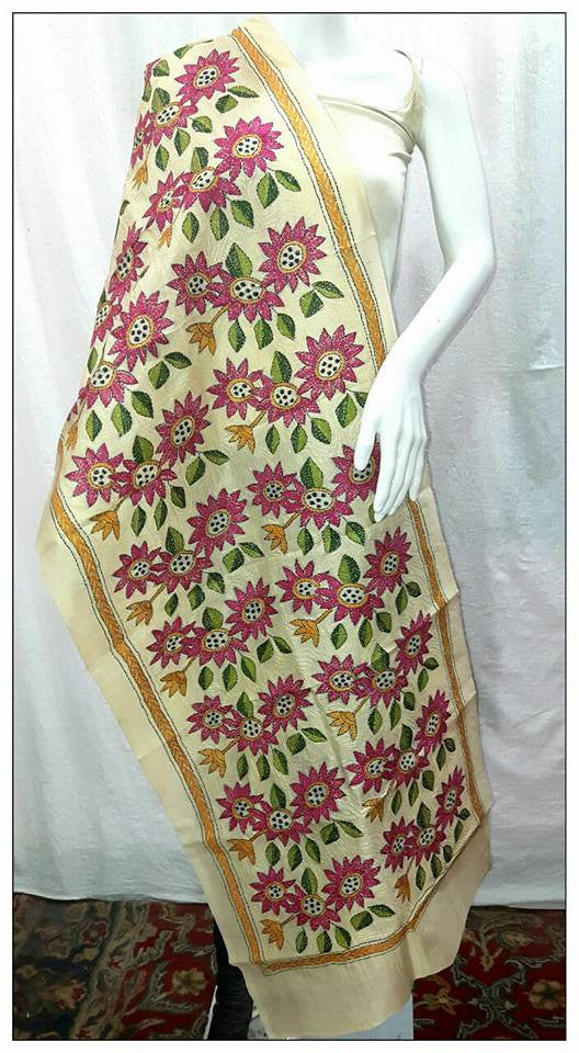 Handpicked Off White & Light Magenta Tussar Kantha Stitch Stoles