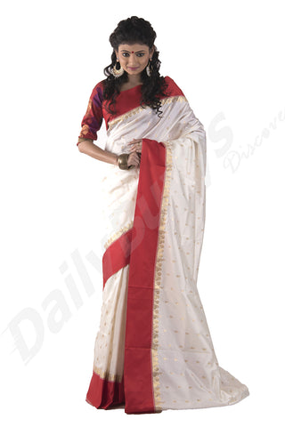 Green White Garad Silk Sarees