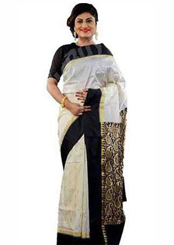 Black White Garad Silk Sarees