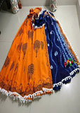 Orange Blue Bagru Printed Cotton Sarees