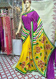 Yellow & Purple Moklin Sarees